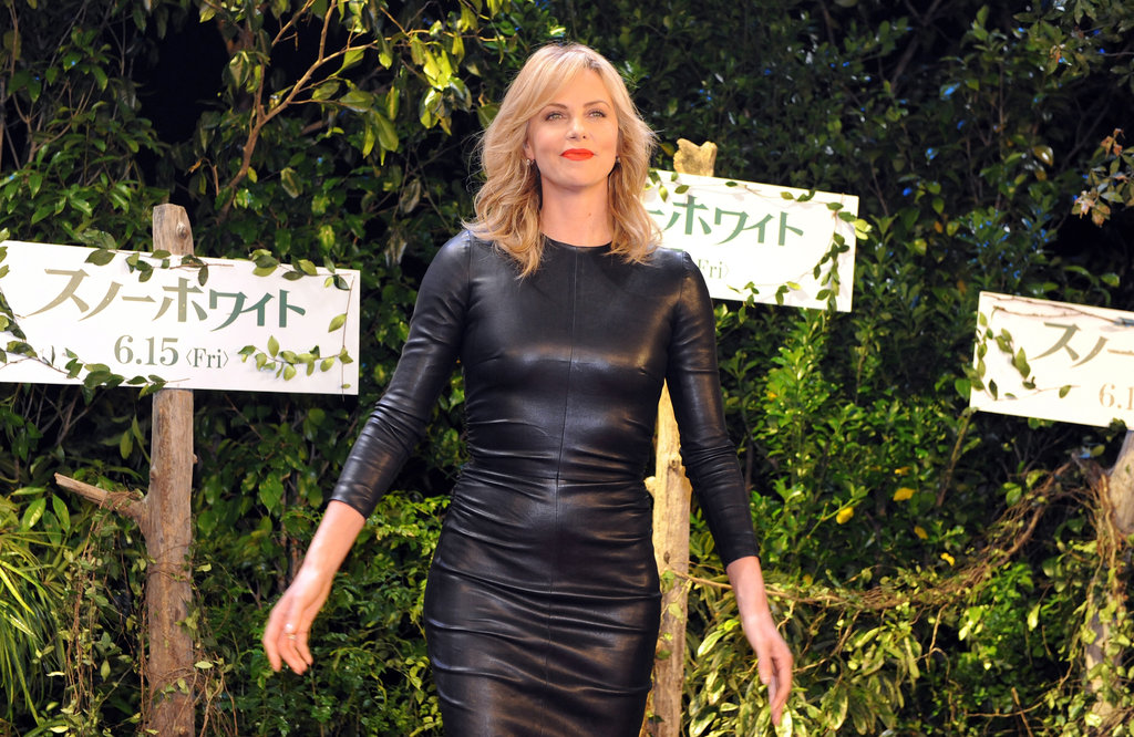 Charlize Theron stepped out in leather in Japan.