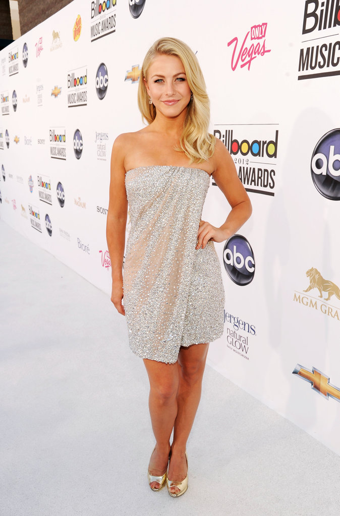 Julianne Hough stunned in a sparkly draped-front minidress and metallic peep-toe pumps.