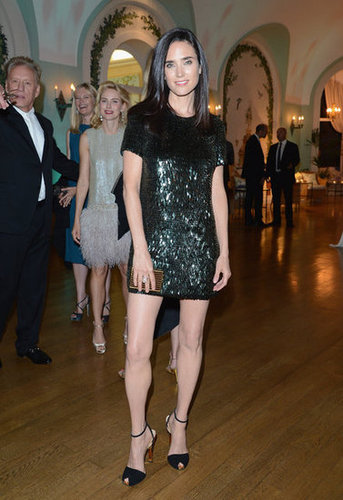 Jennifer Connelly showed off her stems in a black sequined minisheath for Gucci's party.