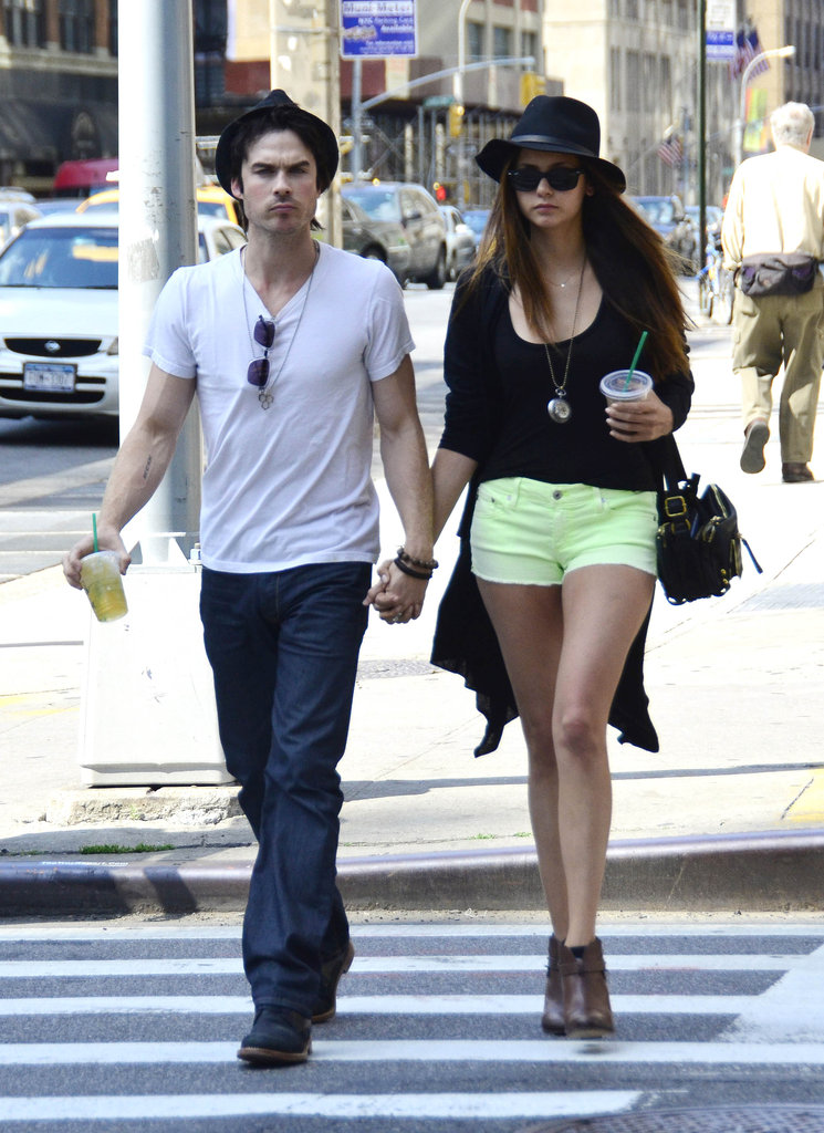Ian Somerhalder and Nina Dobrev were hand in hand for a stroll through NYC.
