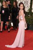 A gorgeous gown complemented Megan Fox's January 2011 appearance at the Golden Globes in LA.