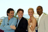 Antonio Banderas, Mike Myers, Cameron Diaz and Eddie Murphy had a laugh at the Shrek 2 photo call in 2004.