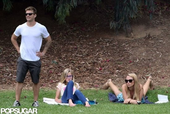 Ryan Phillippe and Ava watched Deacon's flag football game.