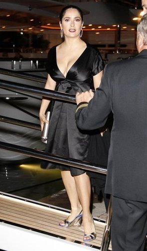 Salma Hayek partied on the Pegasus II yacht during the Cannes Film Festival in May 2008.
