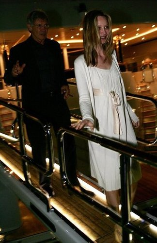 Calista Flockhart and Harrison Ford attended a birthday party on a yacht during the Cannes Film Festival in May 2008.