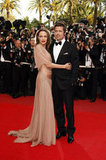 Angelina Jolie embraced Brad Pitt at the Inglourious Basterds premiere during the 62nd Cannes Film Festival in 2009.