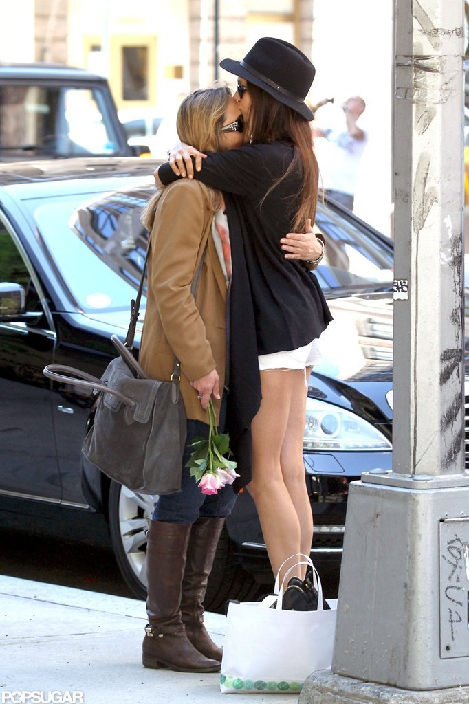 Nina Dobrev showed her mom how much she loves her with a kiss on Mother's Day in NYC.