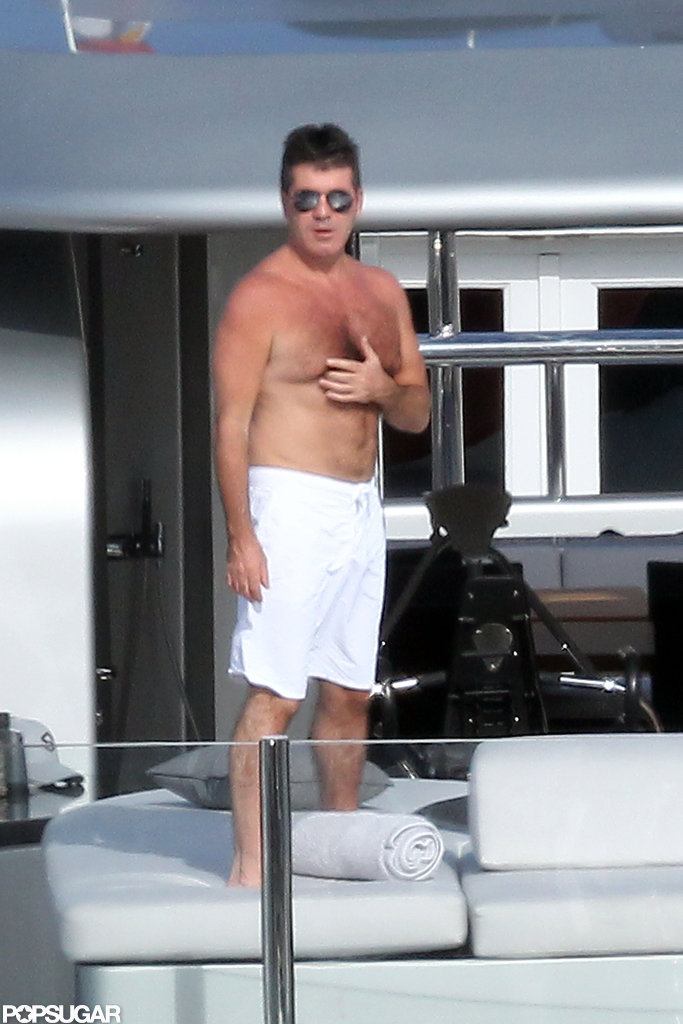 Simon Cowell soaked up the sun on his boat while vacationing in St. Barts in 2012.