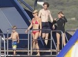 Gwyneth Paltrow spent a family vacation with kids Apple and Moses, brother Jake Paltrow, and Steven Spielberg aboard Steven's yacht in Italy in July 2011.