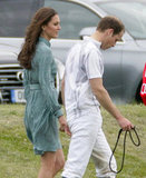 Kate joined William on the field, showing off her knee-length dress.