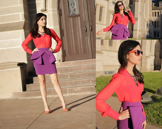 Embrace the season's call to colour and its most feminine silhouette with a bold-hued peplum skirt that you could style up just as easily for an event as you could for your nine-to-five.  Photo courtesy of Lookbook.nu