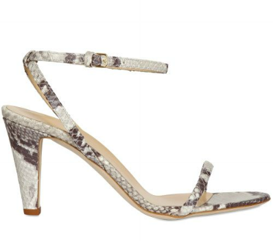 Just sexy enough with a heel you can still walk around in.  Gianna Meliani Python Print Leather Sandals ($335)