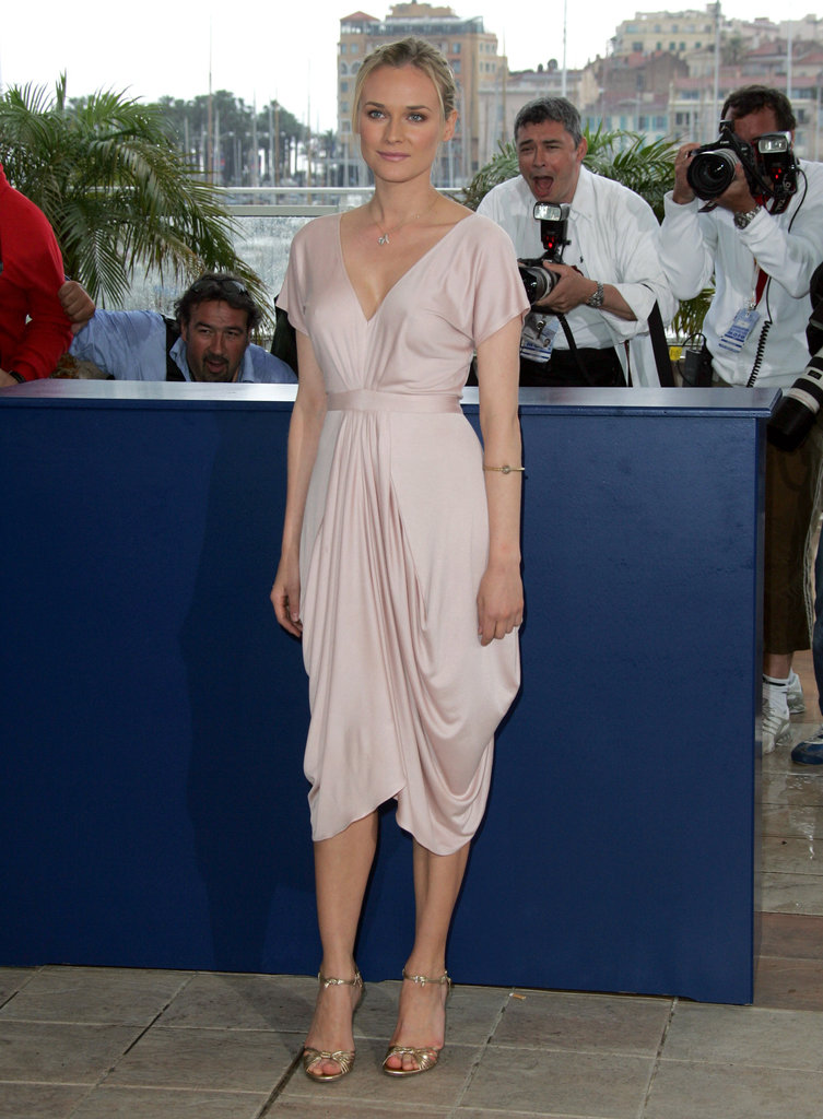 In 2005, she wore a sweet blush-toned Emma Cook dress and gold Gucci sandals to the Joyeaux Noel photocall.