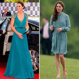 Kate Middleton Wears Teal Jenny Packham and Libélula Dresses