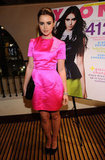 Lily Collins sported the perfect hot pink party look recently, wearing a silk Honor dress and black heels.