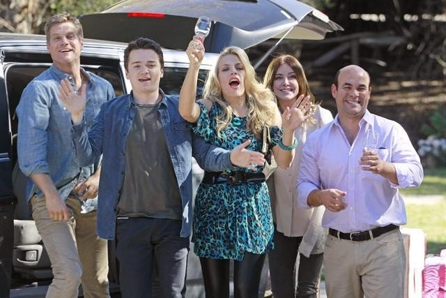 Brian Van Holt, Busy Philipps, Christa Miller, Ian Gomez, and Dan Byrd on Cougar Town. Photo copyright 2012 ABC, Inc.