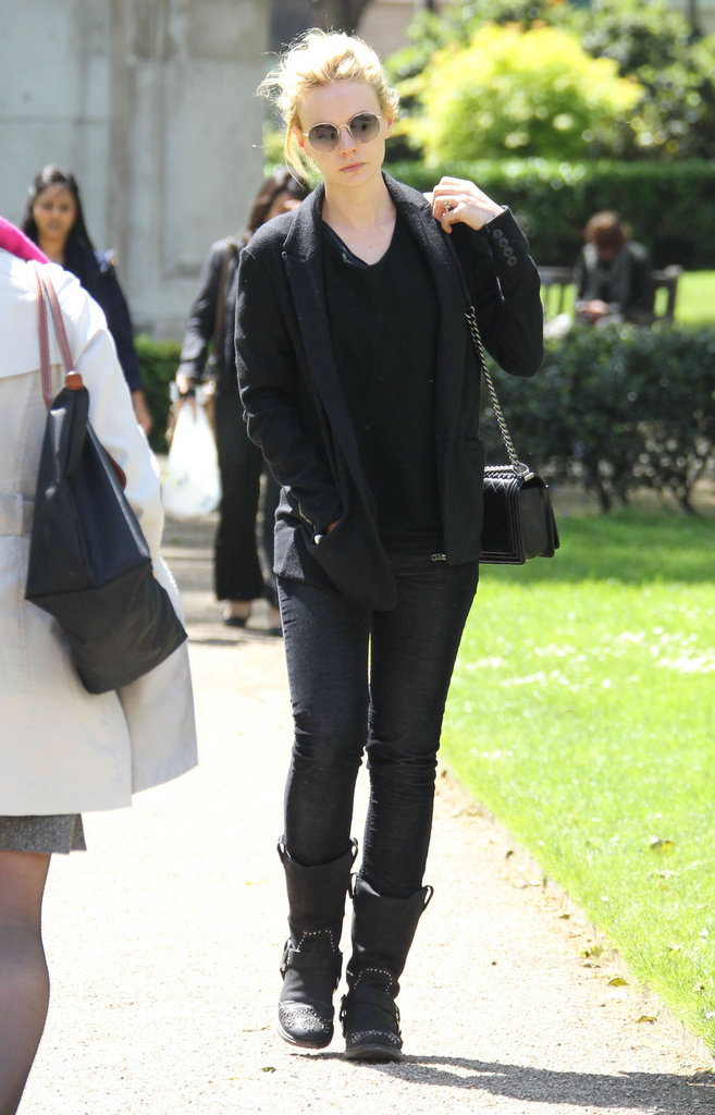 Carey Mulligan walked through a park in London.