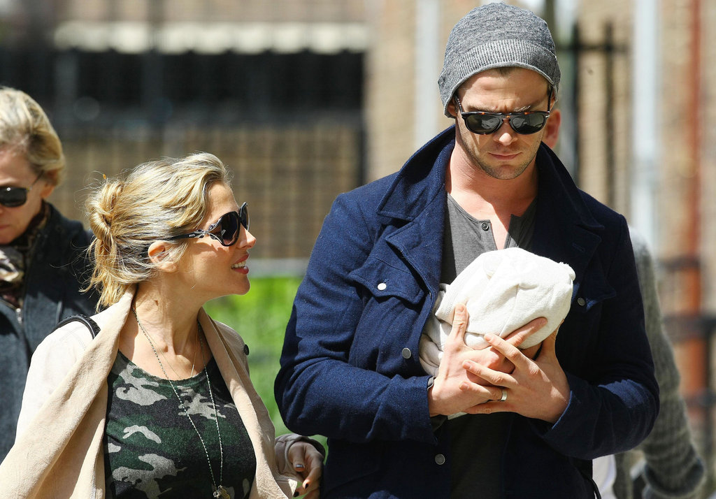 Chris Hemsworth carried baby India with Elsa Pataky by his side.