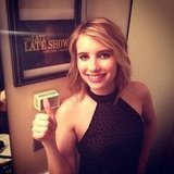 Emma Roberts gave a thumbs-up while backstage at The Late Late Show With Craig Ferguson.  Source: Instagram user emmaroberts6