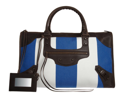 We're not sure what we love more: the bright racing stripes or the classic Balenciaga silhouette. Looks like a win-win situation to us. Balenciaga Arena Classic Toile Raye Work Bag ($1,595)