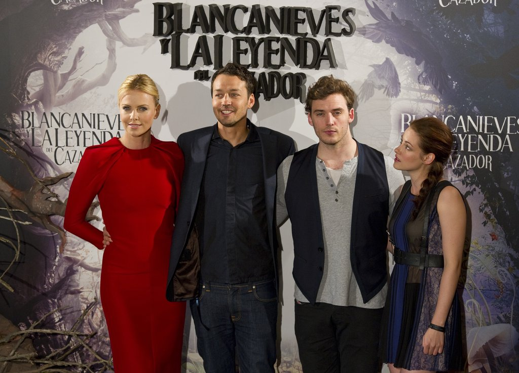 Charlize Theron, Rupert Sanders, Sam Claflin, and Kristen Stewart were together for the Snow White and the Huntsman photocall in Madrid.