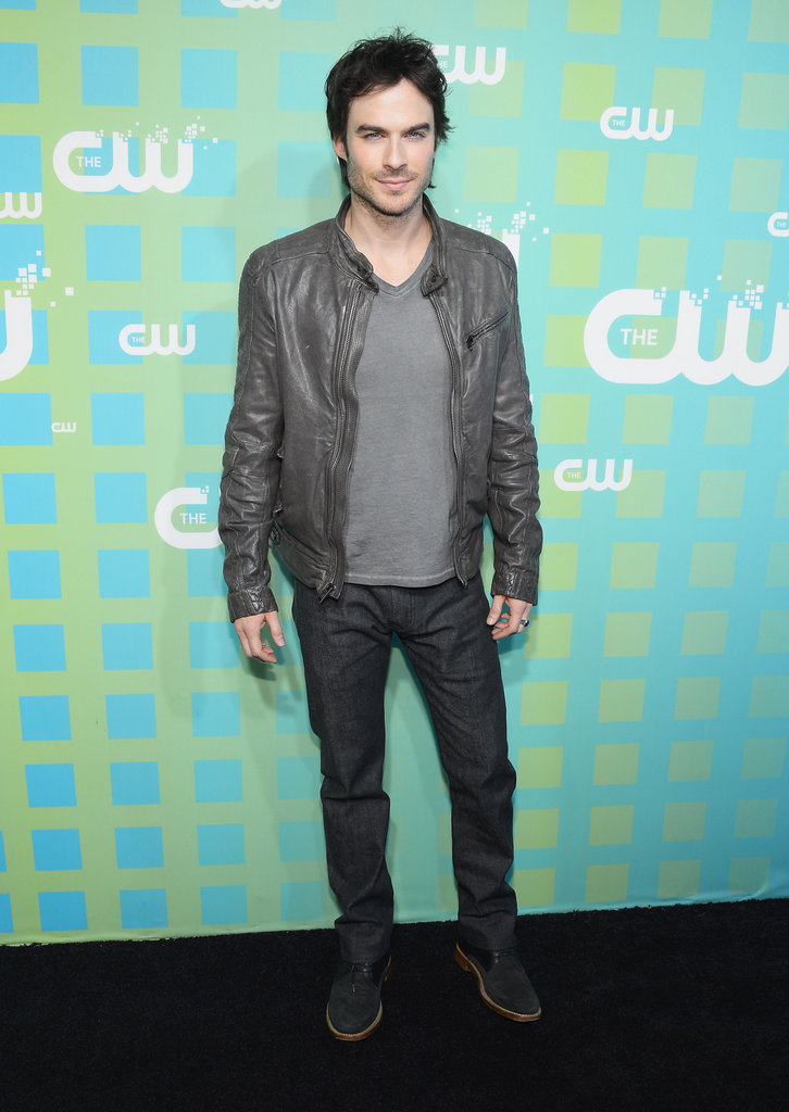 Ian Somerhalder looked handsome in a jacket at the Upfront in NYC.