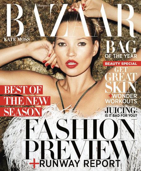 Kate Moss on the cover of Harper's Bazaar 2012.