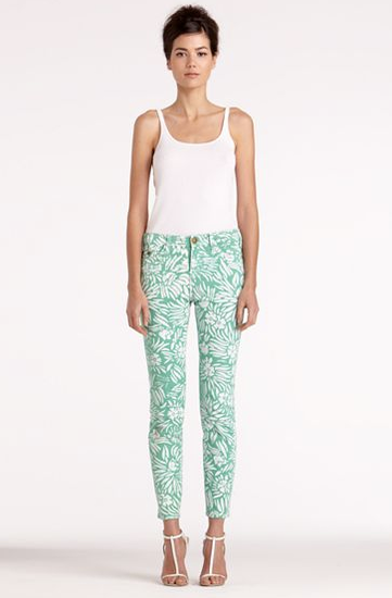 We love how the soft pastel hue offsets the bold floral print. Diane von Furstenberg Classic Skinny Jean in Mint Tropical Print ($258)