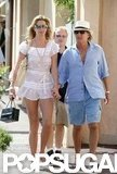 Three days before their June 2007 wedding, Rod Stewart and Penny Lancaster held hands on a walk through the coastal town of St.-Tropez.