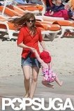 Isla Fisher Hits the Beach With Olive and Elula in Cannes