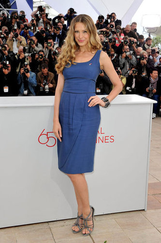 Petra Nemcova wore a Summery blue sheath and gray strappy sandals at the photocall for Haiti: Carnival.