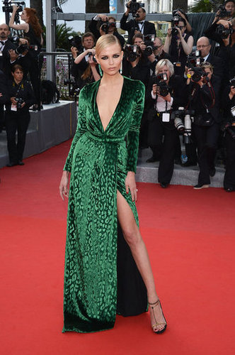 Model and actress Natasha Poly showed off her leg via one seriously striking thigh-high split. The beauty donned a daring V-neck green velvet Gucci dress for the Madagascar 3 premiere and paired the look with emerald-green drop earrings.