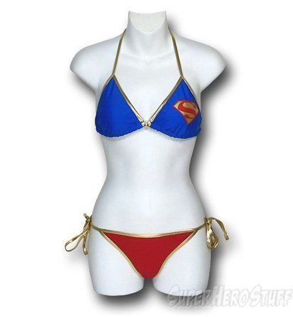 We love the gold accents of the Supergirl String Bikini Swimsuit Set ($43).