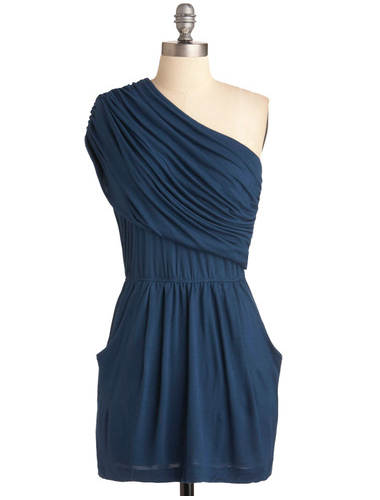 Dress this one up with strappy heels and gold jewels for cocktail hour.  Modcloth I'm Your Venus Dress in Navy ($50)