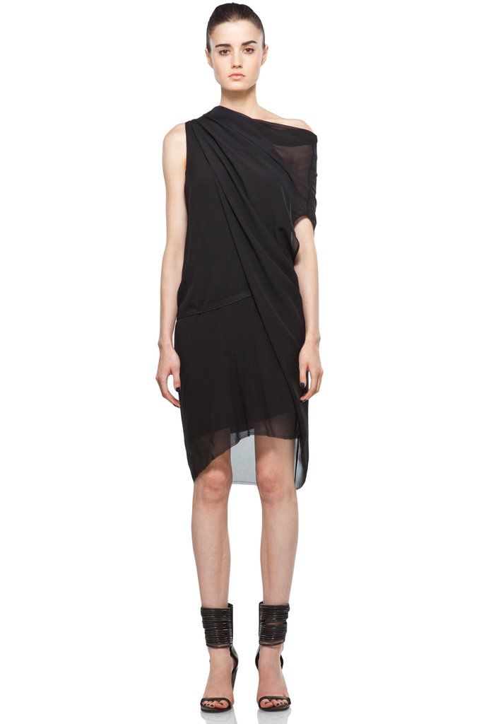 This asymmetrical wrapped dress is the ultimate in Summer sophistication.  Helmut Lang Belted Dress in Black ($495)
