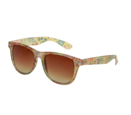If you can't commit to flower-printed denim, inject a little of the season's must-have florals on your shades.  Wet Seal Frosted Floral Wayfarer Sunglasses ($8)