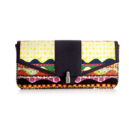 This totally special clutch looks a lot more expensive than it actually is.  Rachel Rachel Roy Brasil Envelope Clutch ($69)