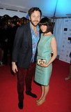 Chris O'Dowd and fiancée Dawn Porter attended Eva Longoria's boat party.
