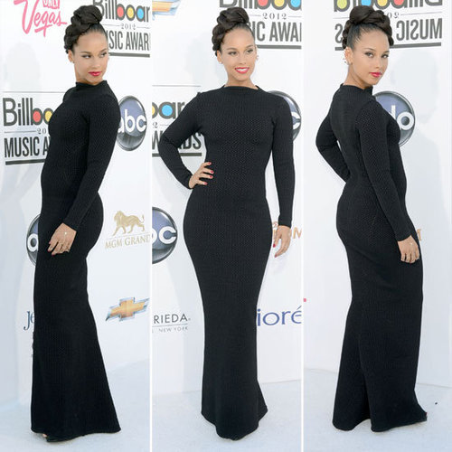 Pictures of Alicia Keys in Black Azzedine Alaia Couture Dress on the Red Carpet for the 2012 Billboard Music Awards: Approve?