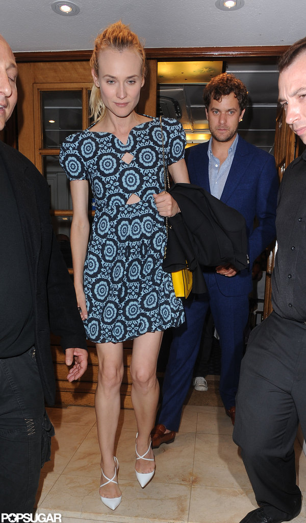 Diane Kruger and Joshua Jackson left dinner in Cannes.