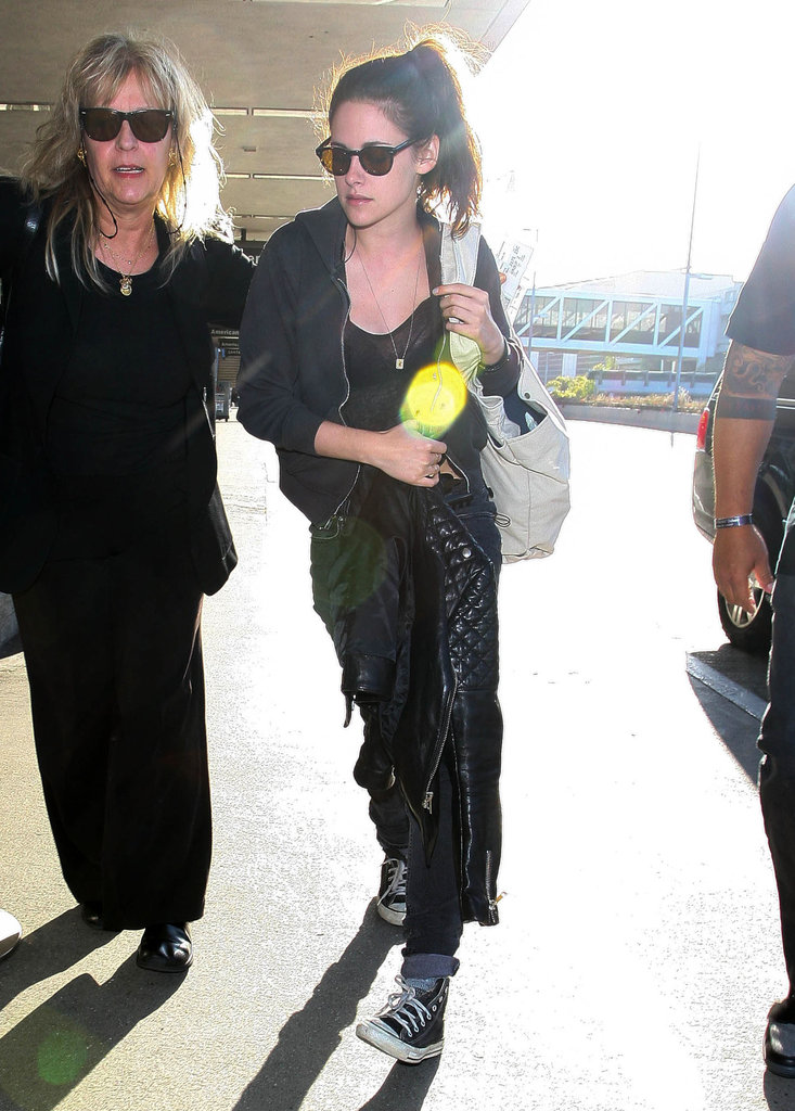 Kristen Stewart arrived for a flight.