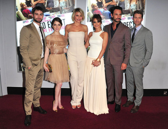 "Chace Crawford, Anna Kendrick, Cameron Diaz, Cheryl Cole, Rodrigo Santoro, and Matthew Morrison posed at the UK premiere of ""What to Expect When You're Expecting."""