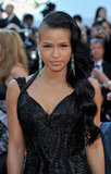 Cassie's green-and-diamond encrusted earrings lit up her black gown ensemble at the Killing Them Softly premiere.