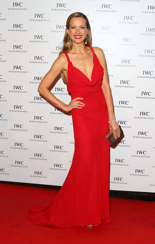 Petra Nemcova was a vision in red.