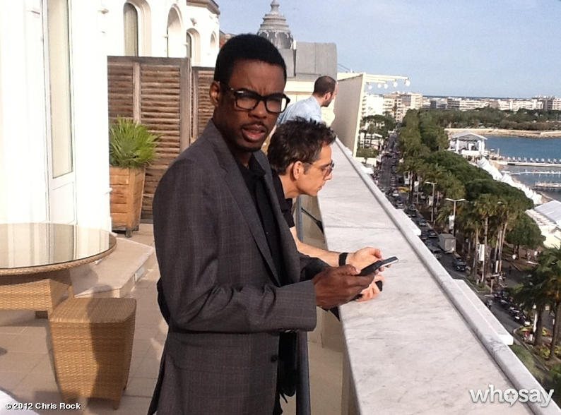 Chris Rock and Ben Stiller hung out on a balcony in Cannes.  Source: Chris Rock on WhoSay