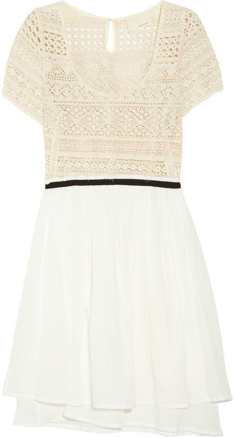 A chic approach to the crochet dress, this two-tone frock encompasses Spring's craft trend along with breezy gauze for the ultimate in ladylike weekend wear.  Girl. by Band of Outsiders Crochet and Gauze Dress ($755)