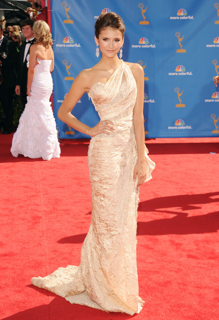 Proving her status as a serious red-carpet stunner, Nina glowed in a one-shouldered Zuhair Murad gown at the 2010 Emmys.