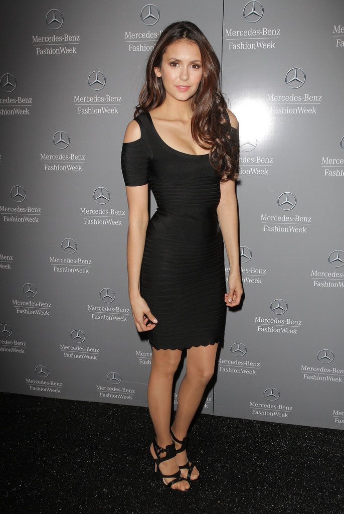 The starlet showed a bit of skin via shoulder cut-outs in this LBD at Fall 2012 New York Fashion Week.