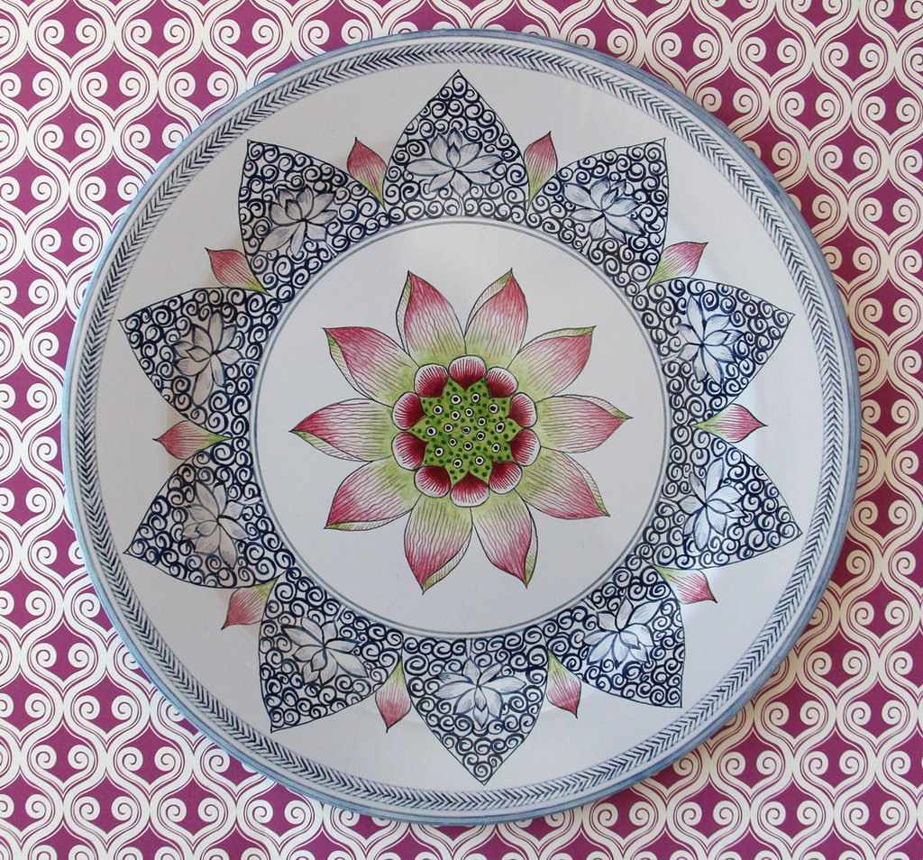 We are in absolute love with these gorgeous Lotus Tin Plates ($45 for 4).