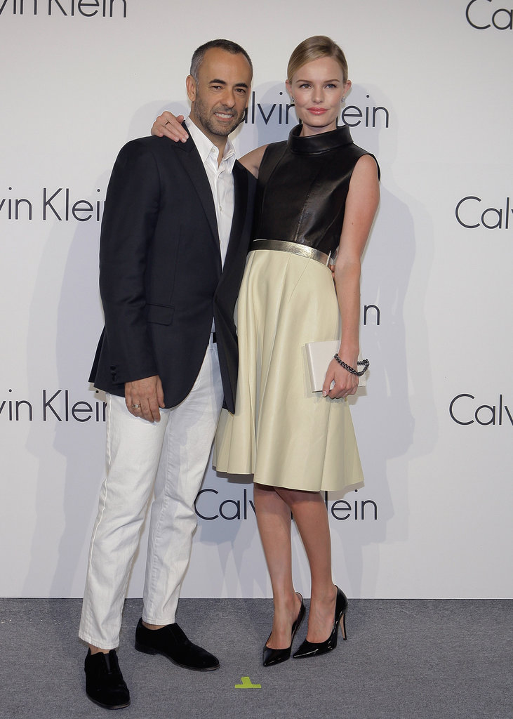 Kate Bosworth and Francisco Costa posed together at the Calvin Klein Colletions event.